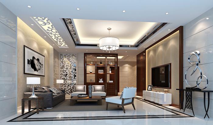 deko für wohnzimmer, einrichtung in grau, wanddeko mit bild, dekorative wand mit abstraktem muster
