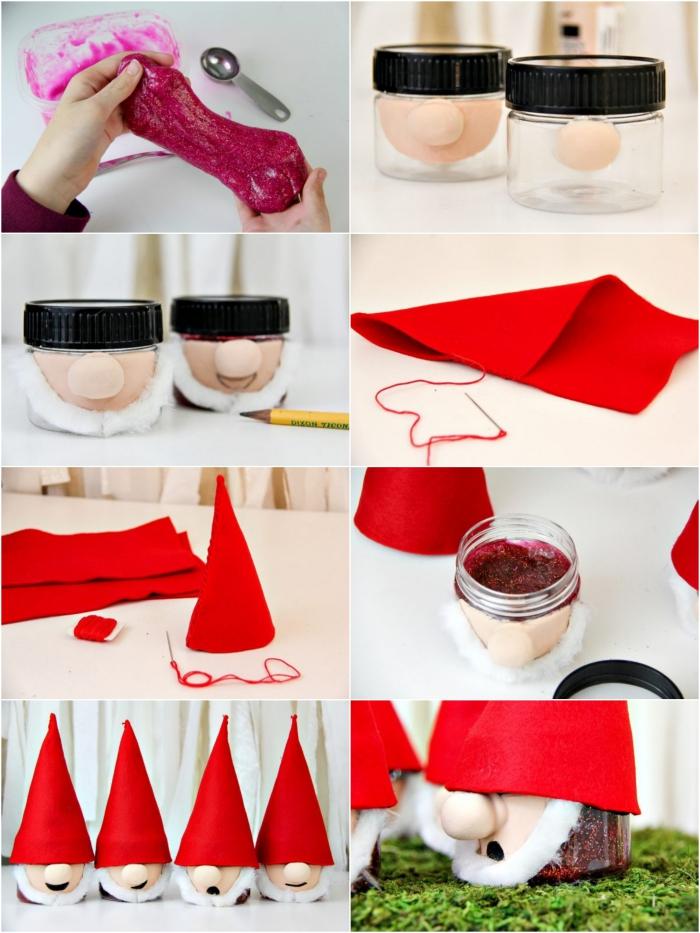 schleim selber machen ohne kleber, collage mit mehreren bildern, weihnachtsschleim