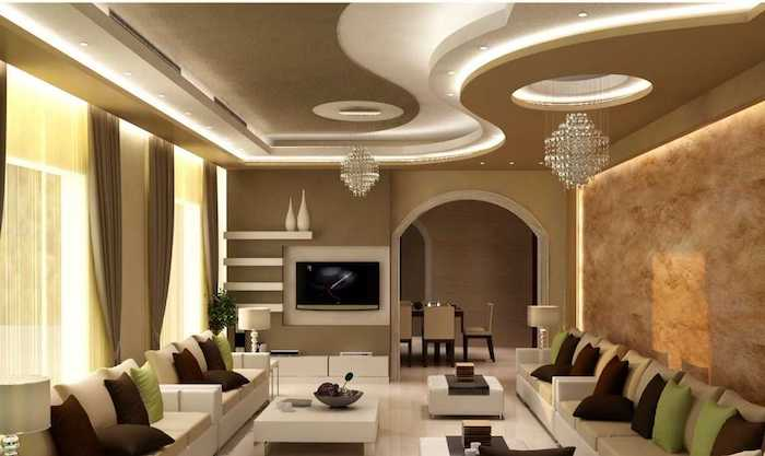 dekoideen wohnzimmer, zwei kleine kronleuchter, abgehängte decke mit led beleuchtung