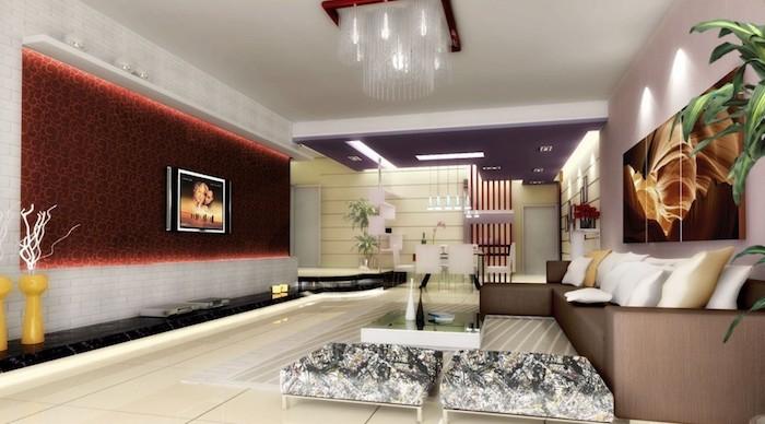 rote tapette, dekoideen wohnzimmer, leinwandbild mit abstraktem motiv, leuchte