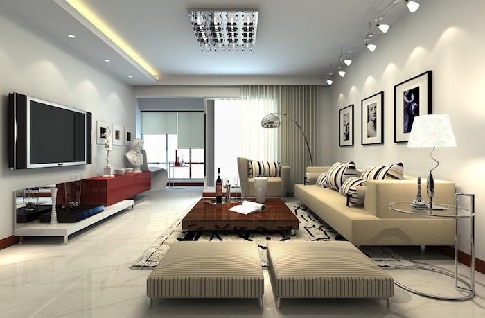 dekoideen wohnzimmer, led lecuhte, drei fotos in schwarz in weiß, beige keramikfliesen
