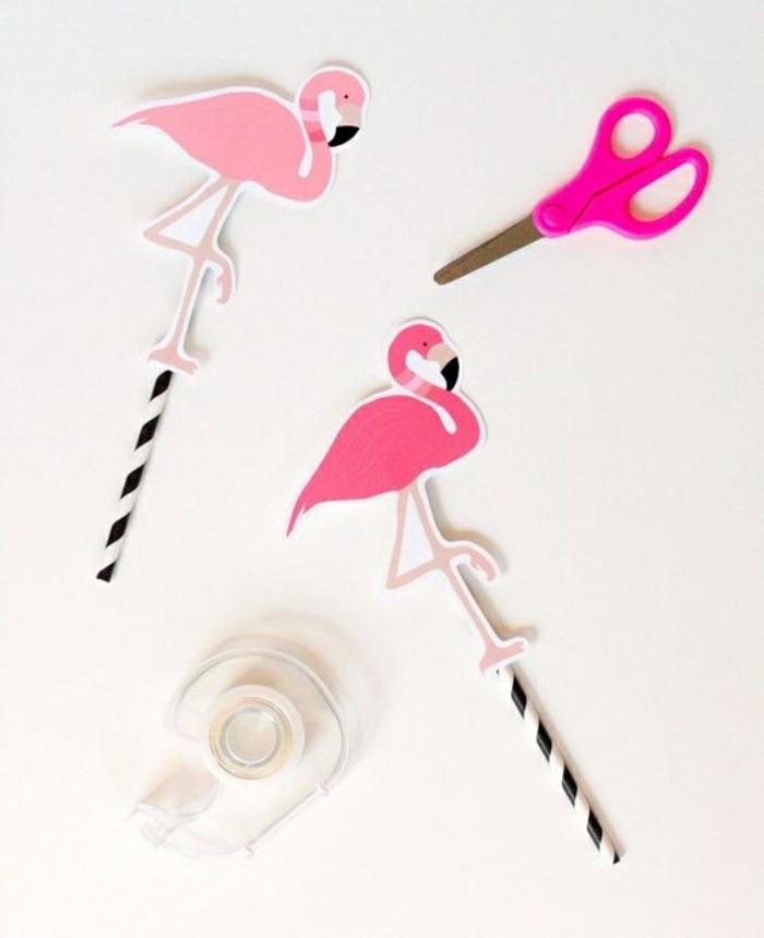 diy bastelideen mit strohhalmen, flamingo idee zum nachmachen, alles pink, sogar die schere