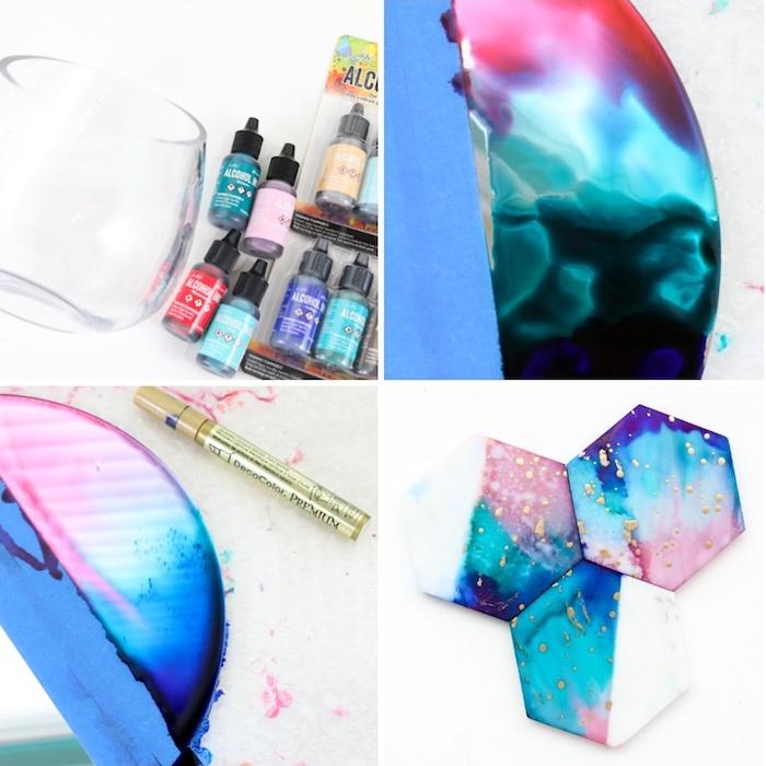 diy bastelideen, kreative geschenke, tassenunterlagen mit tintefarben dekorieren, marmor muster