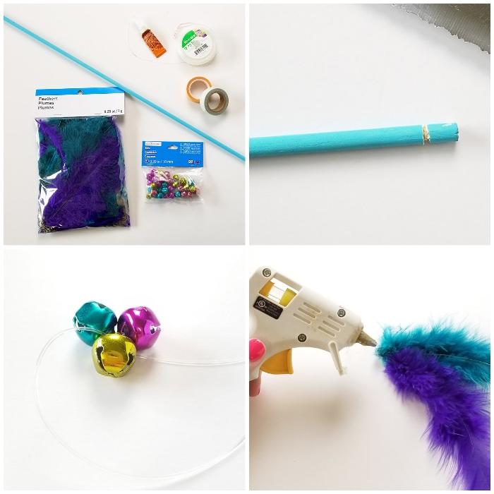 diy katzenspielzeug aus holzstäbchen, federn und glöckchen, heißklebepistole, einfach