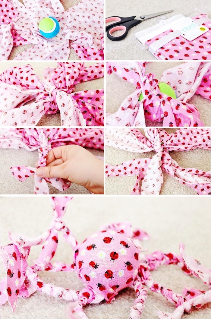 diy katzenspielzeug aus tennisball und rosa stoff, einfache bastelideen, schere, kauspielzeug