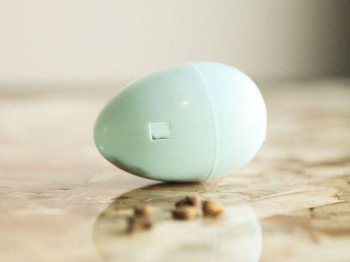 diy katzenspielzeug, schnell und einfach, ei aus kunststoff mit loch, katzenfutter, tisch