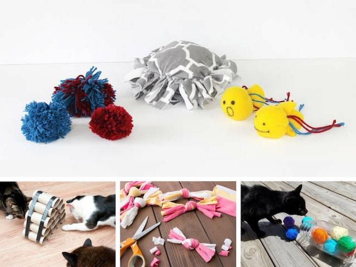 diy katzenspielzeug, collage aus bildern, bommeln aus garn, basteln mit klorollen, schwarze katze