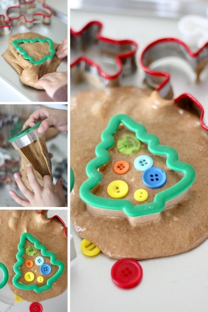diy slime ideen zu weihnachten und silvester, ausstechformen, weihnachtsbaum idee