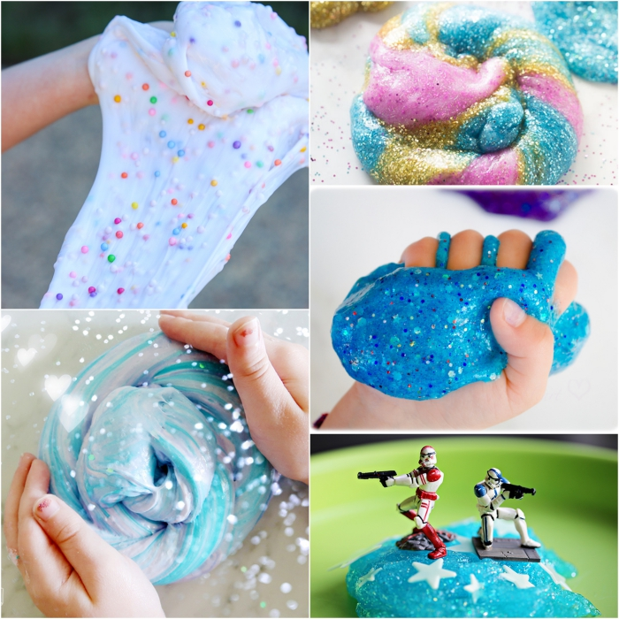 slime ohne kleber eine deko idee zum spielen und gestalten, collage aus fünf bilder meeresfarbe