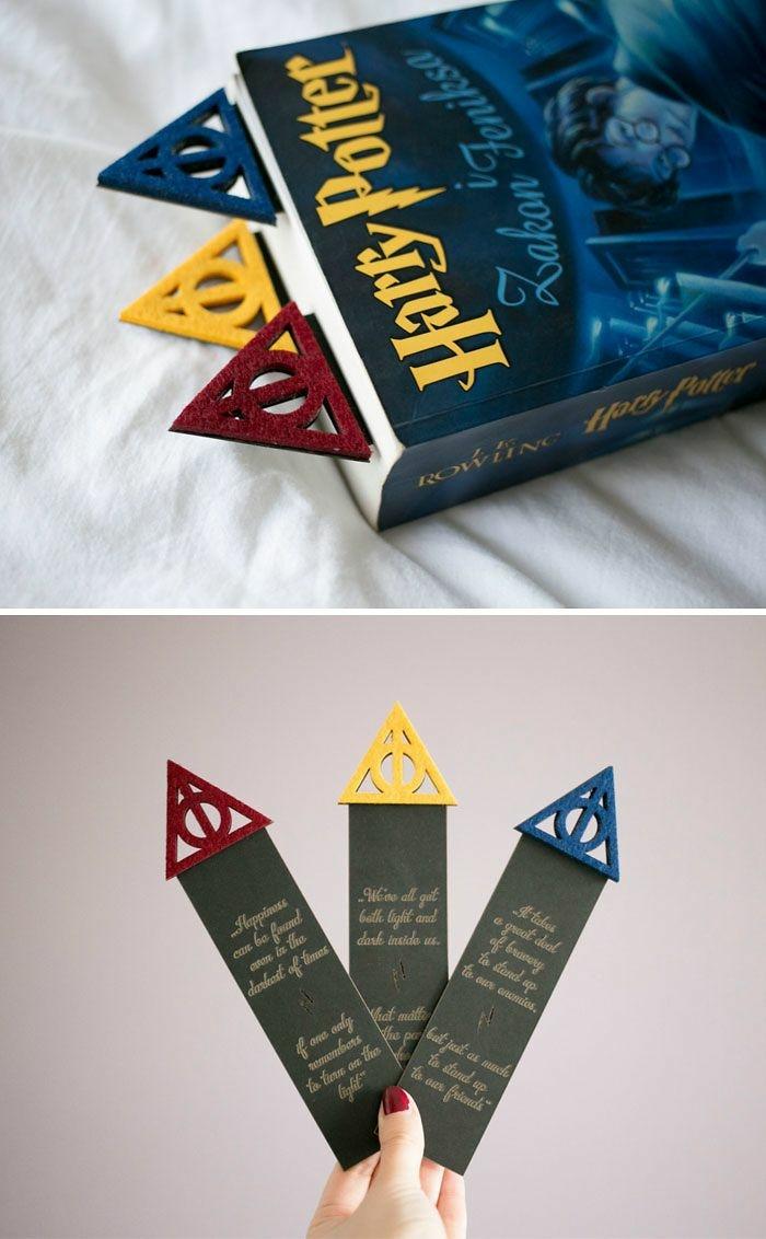 drei Lesezeichen mit Symbolen aus dem letzten Buch von Harry Potter, Lesezeichen gestalten