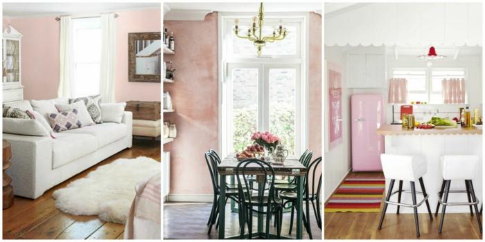 Altrosa Wandfarbe im Wohnzimmer und im Esszimmer, Laminat Boden, weiße Gardinen