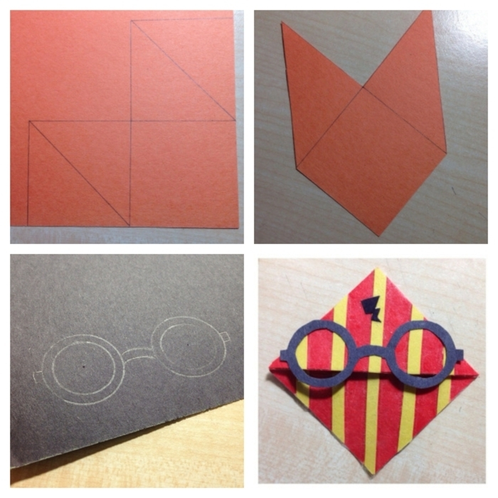 die erste Schritte, ein Harry Potter Lesezeichen selber zu machen aus Karton