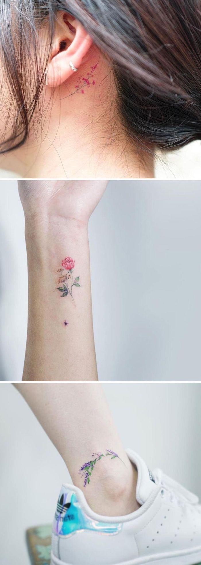 tattoo hinterm ohr mit einer kleinen violetten blume, ein bein mit einem weißen schuh, eine hand mit einem kleinen tattoo mit einer roten rose und grünen blätern