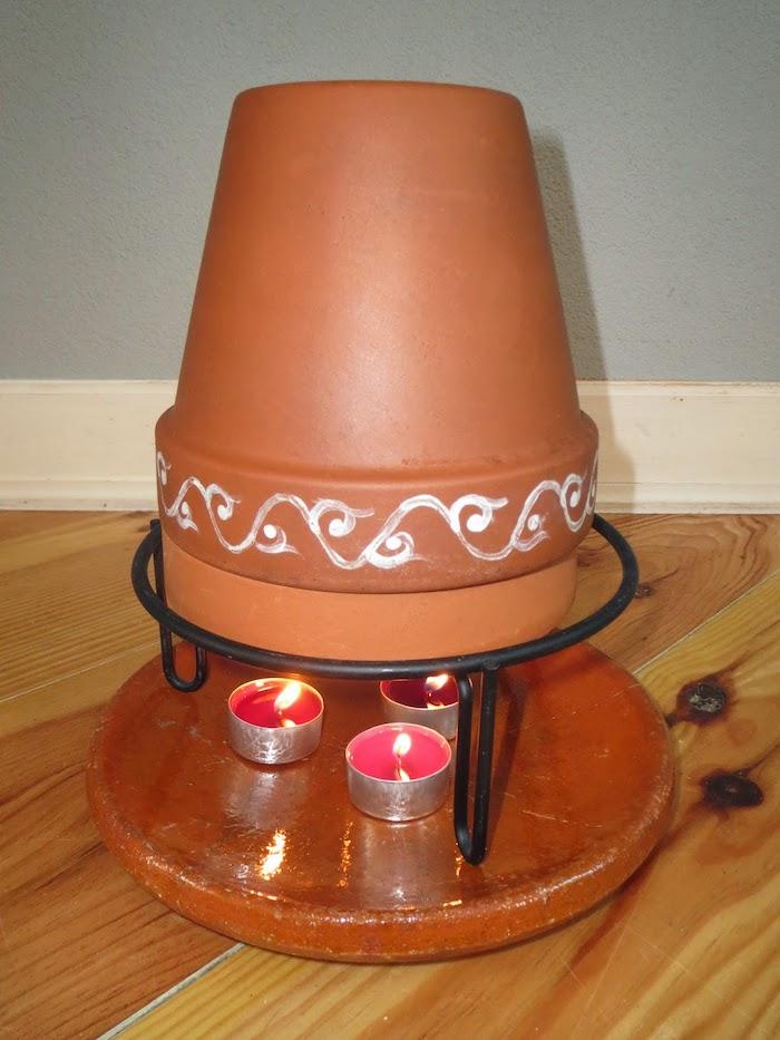 ein teelichtofen mit drei roten kleinen teelichtern und mit einem großen braunen blumentopf aus keramik, ein boden aus holz und eine graue wand, teelichtofen selber bauen