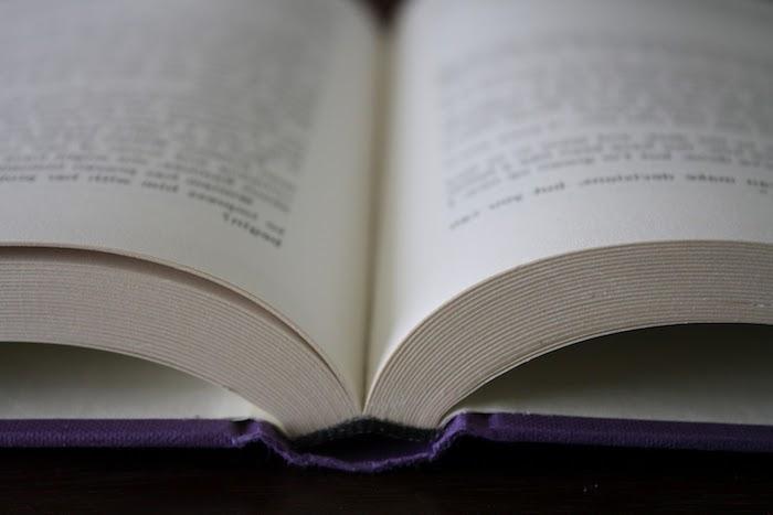 ein buch mit vielen weißen seiten mit kleinen schwarzen buchstaben und mit einem violetten bucheinband