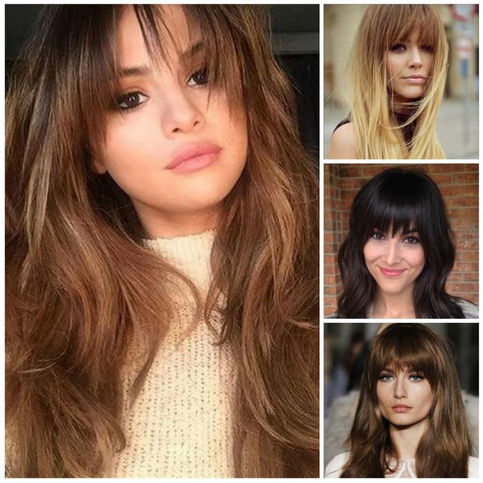 ein Collage von vier Frisuren, einfache Frisuren, lange Haare in verschiedenen Farben