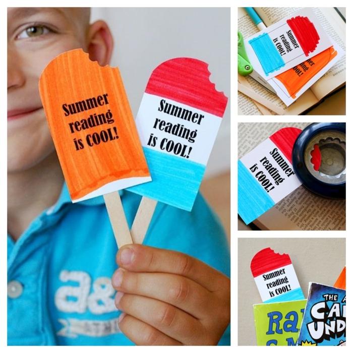 Lesezeichen selber machen, um die kleinen Schüler für Lesen zu inspirieren, zwei mit der Form von Eis