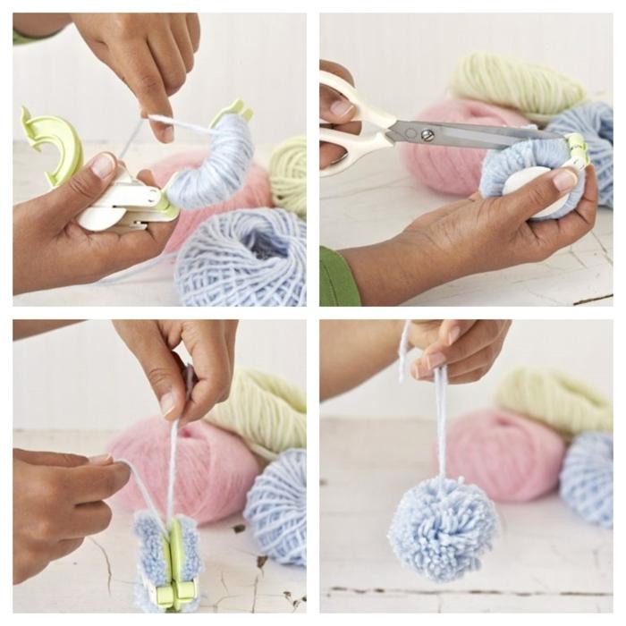 vier einfache Schritten, wie Sie Pompons basteln mit der Hilfe eines Geräts, blauer Pompon