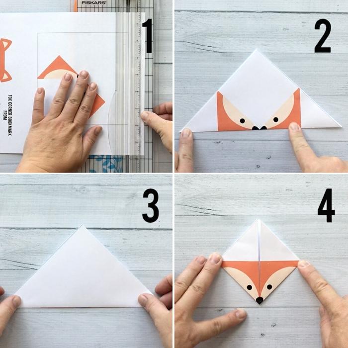 eine Anleitung, wie das Fuchsgesicht zu falten, erste vier Schritten zum Lesezeichen gestalten