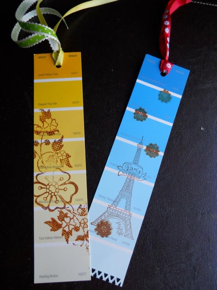 Lesezeichen falten aus der Proben von Farben, die sie in jedem Färbegeschäft kostenlos erwerben können