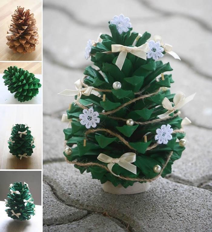 ein kleiner grüner tannenbaum aus einem kleinen grünen bemalten tannenzapfen mit kleinen weißen schneeflocken und mit gelben schleifen, basteln mit tannenzapfen weihnachten