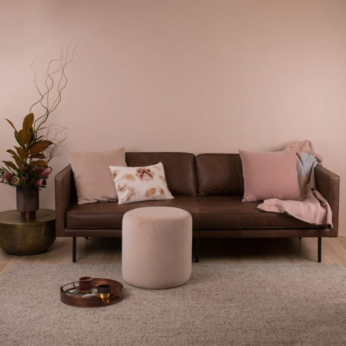 altrosa Farbe Wände, Ledersofa, ein flauschiger Teppich, ein runder Hocker, trockene Blume in der Ecke