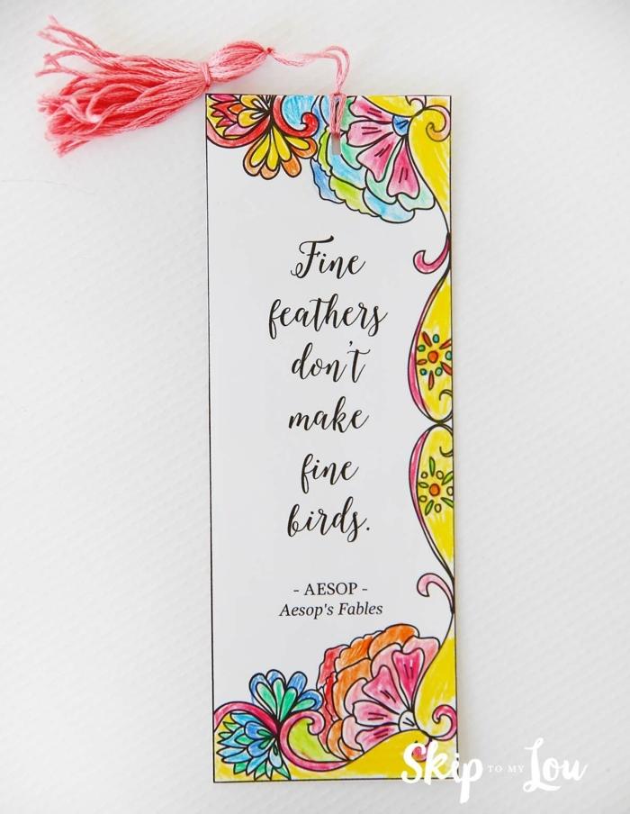 Lesezeichen mit Zitat aus Aesop, Lesezeichen basteln, rosa Quaste, Ausmalbilder
