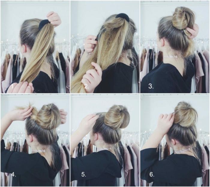 Acht Schritte, mit denen Sie einen hübschen Messy Dutt schaffen, schöne Frisuren für lange Haare