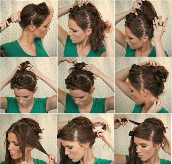 neun Schritte, wei schöne Frisuren für lange Haare selber zu schaffen, grüne Bluse
