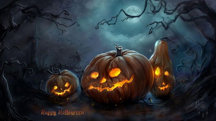 ein wald mit schwarzen bäumen und einem turm, ein großer weißer mond und drei orange kürbisse mit gelben augen, gruselige kürbisgesichter malen, halloween kürbis