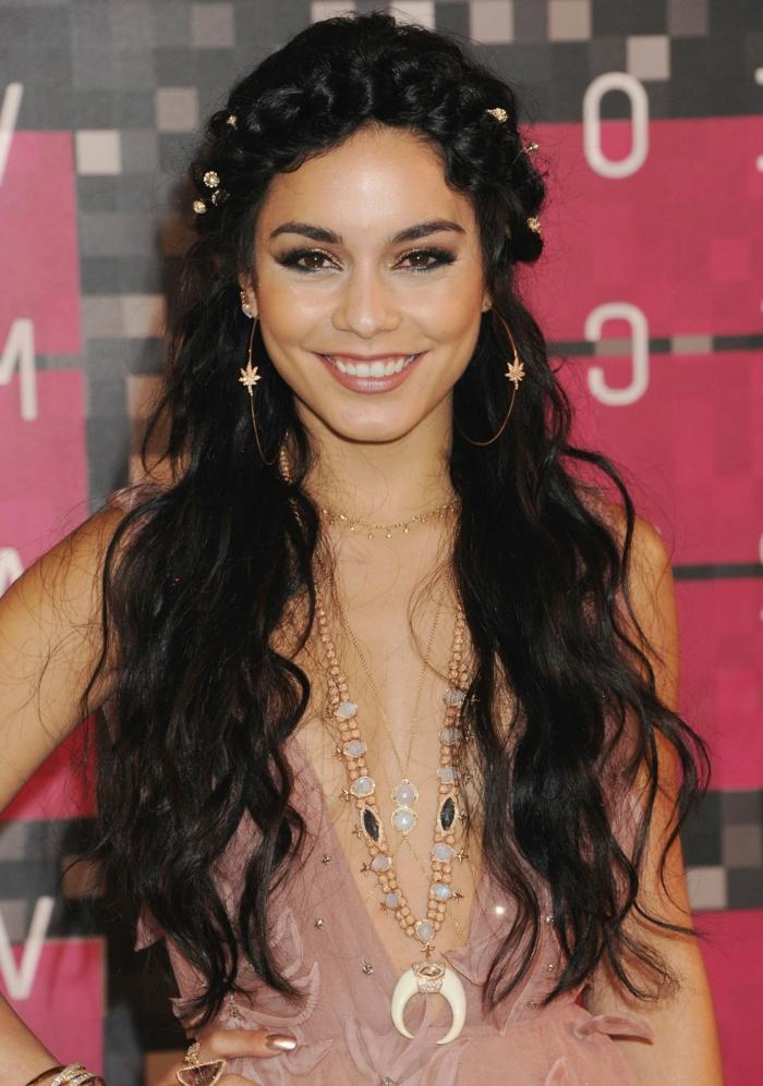 long black curly hair, a braid like wreath on forehead, round earrings, long hairstyles