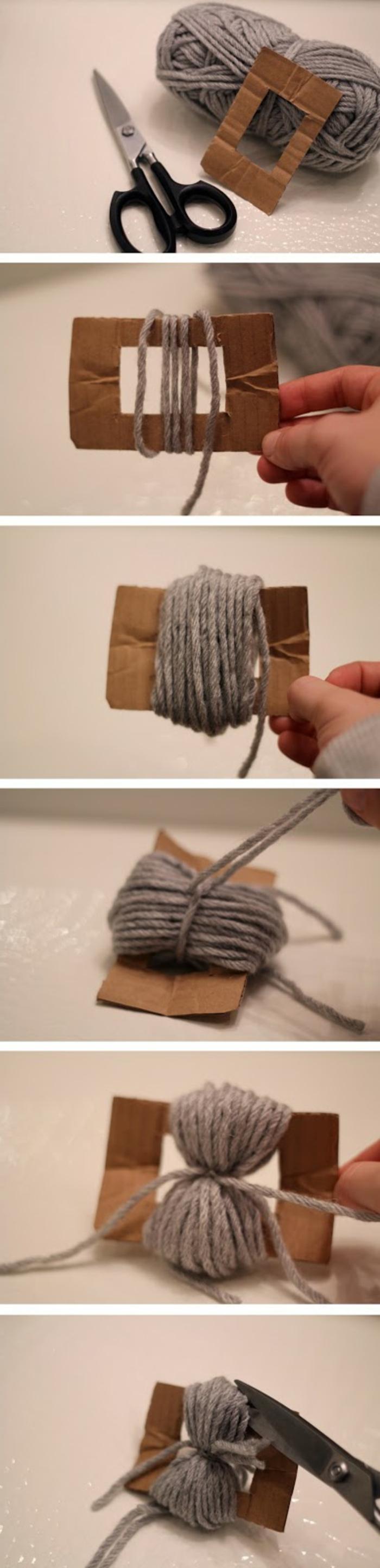 Pompons selber machen in sechs Schritten, Anleitung in Bildern, Garn, Schere und Karton