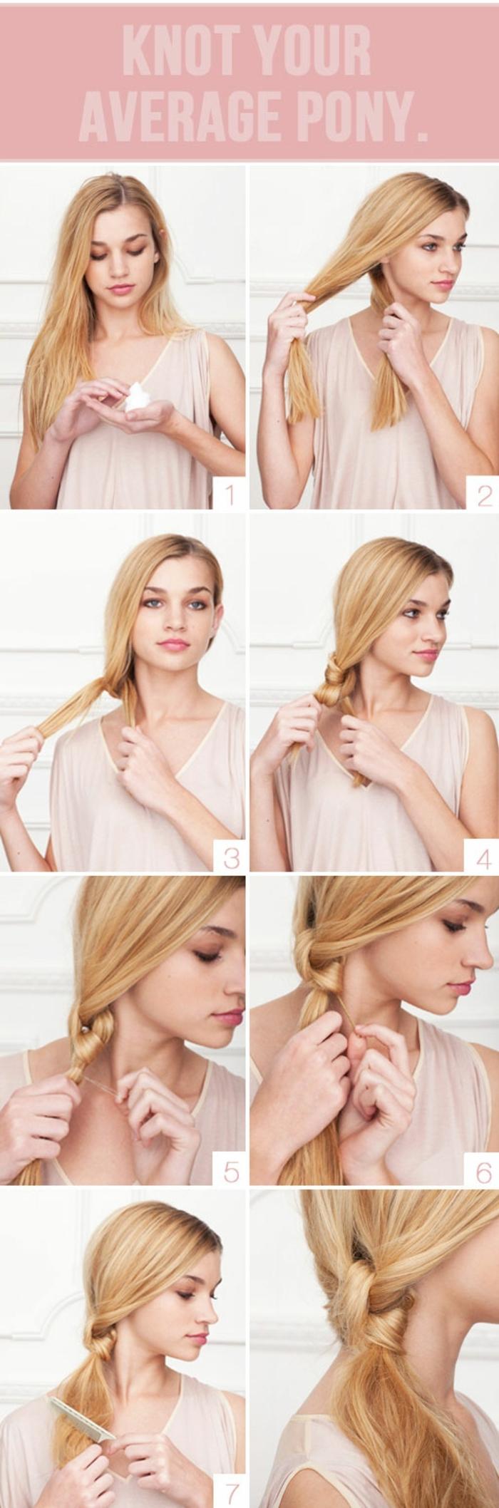 schöne Frisuren für lange Haare, ein Knoten in acht Schritten, blonde Haare stylen