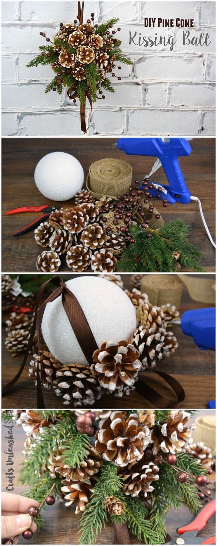 eine diy anleitung, eime weihnachtsdeko selber machen mit braunen kleinen bemalten tannenzapfen und mit einer braunen schleife und vielen grünen ästen