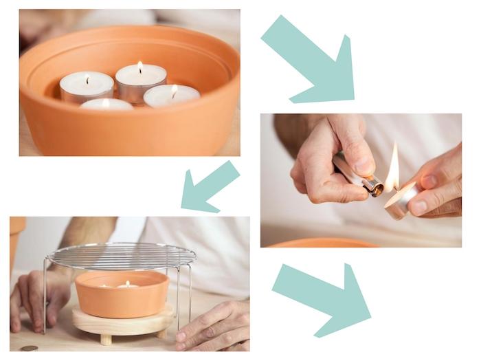 eine diy teelichtofen bauanleitung in vier schritten, hände einer frau und ein graues feuerzeug, ein tisch aus holz und ein blumentopf aus keramik und kleine weiße teelichter
