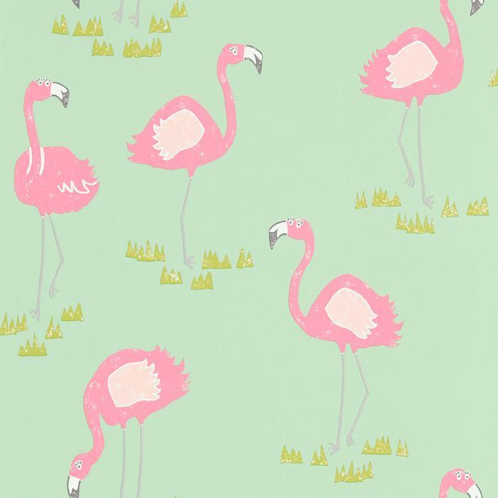 eine grüne flamingo tapete mit vielen kleinen pinken flamingos mit pinken fügeln und pinken federn, einrichtungsideen kinderzimmer