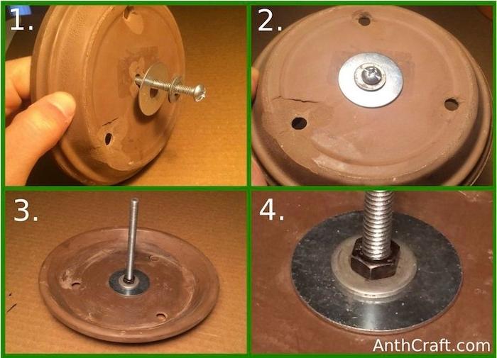 eine hand und ein teller mit kleinen löchern und schrauben und bolzen aus metall, eine diy teelichtofen bauanleitung in vier schritten