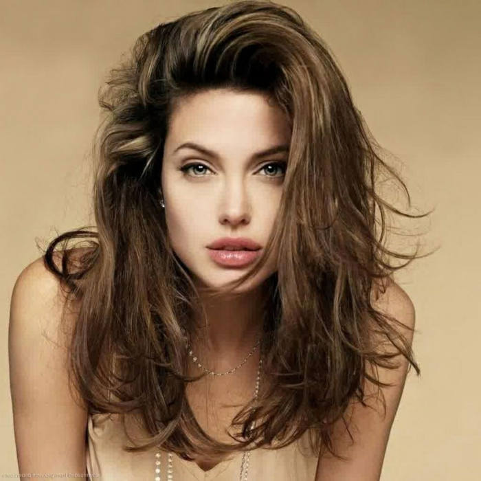 brown hair, light eyes, big lips, simple hairstyles for long hair, a pink dress