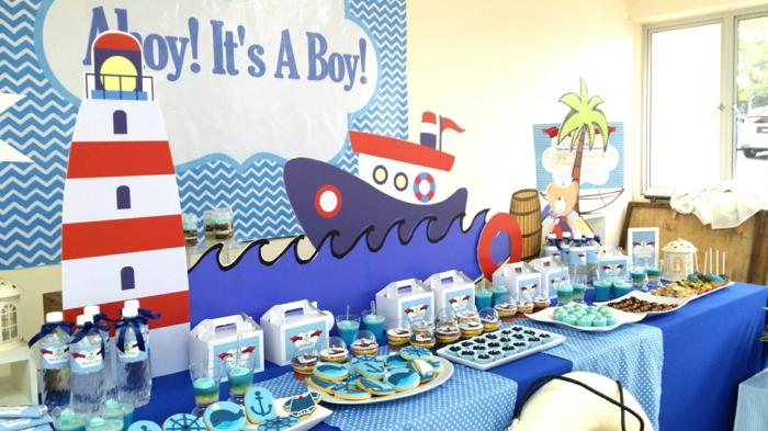 maritime Deko von Babyparty eines kleinen Junge, Ideen für Babyparty mit Lichtturm