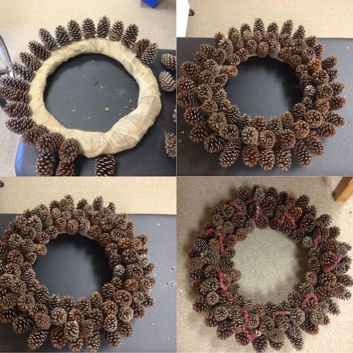 eine weihnachtsdeko selber basteln, eine schritt für schritt anleitung adventskranz selber basteln aus vielen kleinen braunen tannenzapfen, mit tannenzapfen basteln