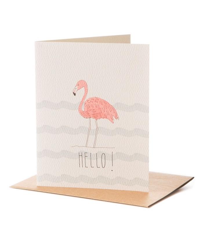 eine weiße karte mit kleinen blauen wellen und mit einer kleinen pinken flamingo mit pinken federn und schwarzen augen, flamingo bilder