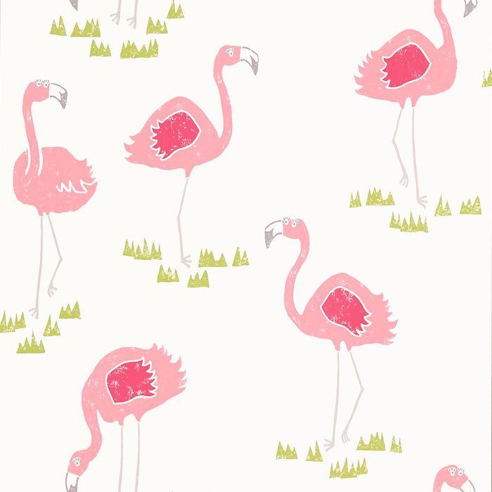 eine weiße tapete mit vielen kleinen pinken flamingos mit pinken federn und mit pinken flügeln und ein grüner rasen