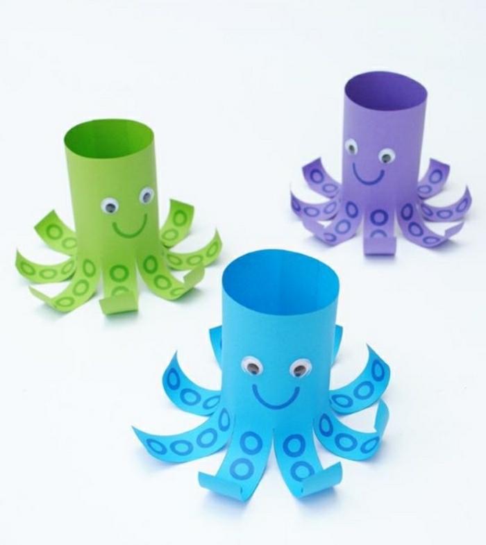 was kann man basteln aus klorollen, klopappier deko, oktopus kleine farbige dekorationen