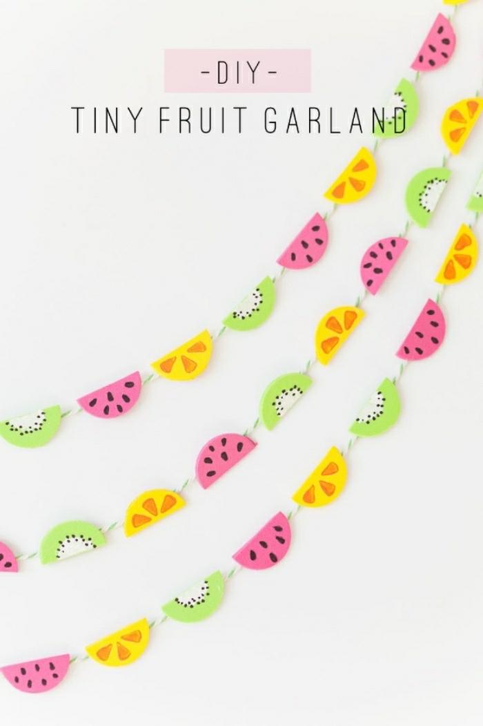 was kann man basteln mit bunten farben und deko frucht deko girlanden