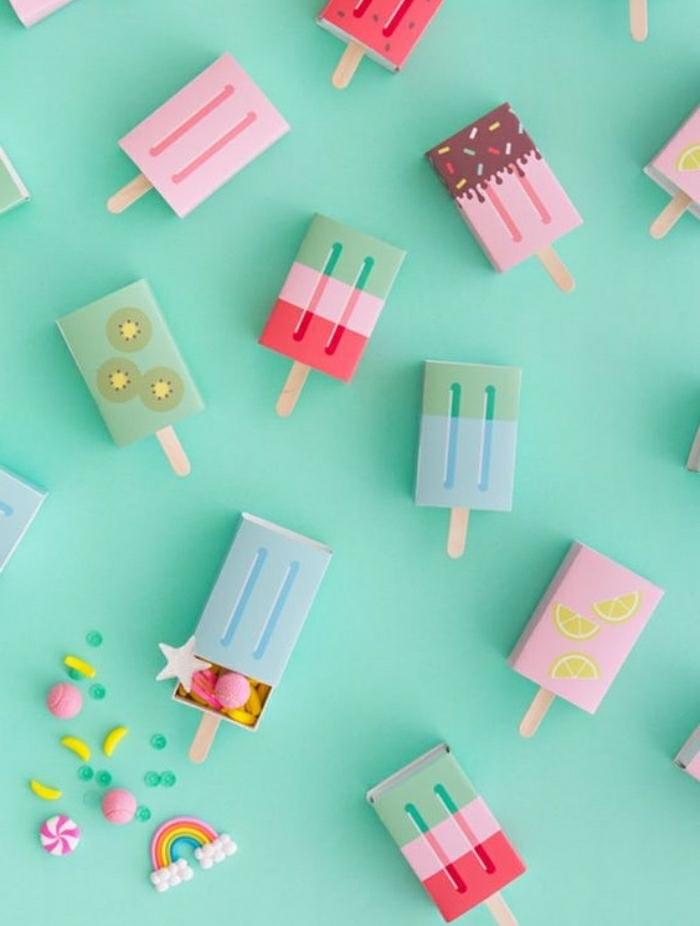 diy ideen deko, kleine eis dekorationen, bunte papierdeko selber machen, schöne ideen für den sommer