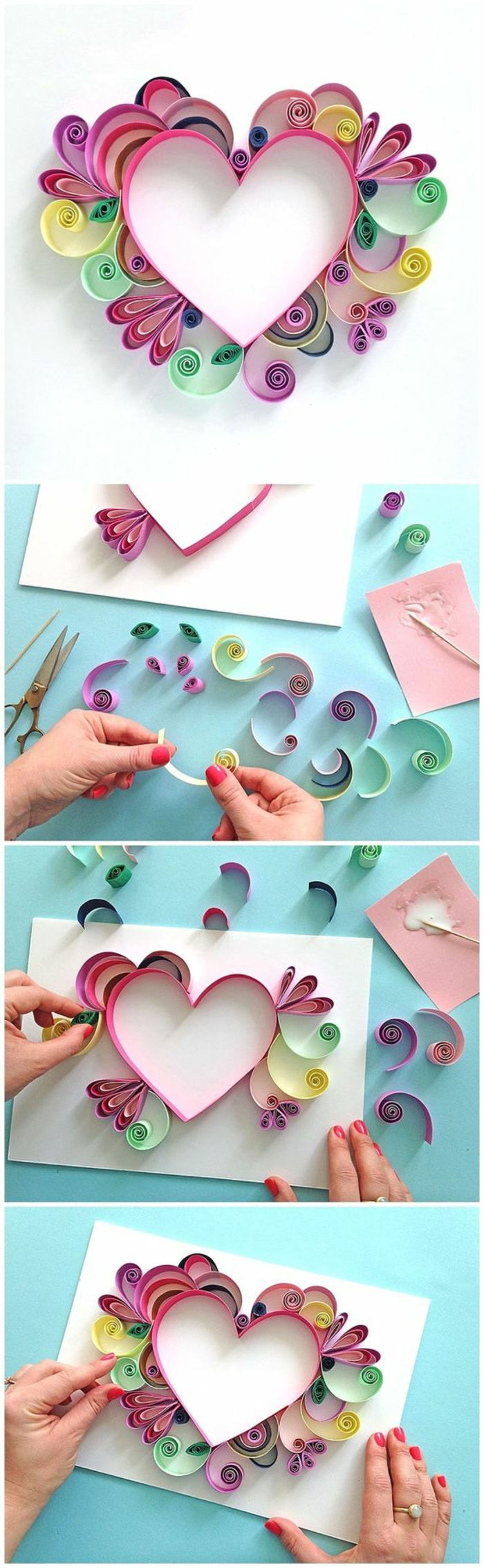 bastelideen mit anleitung in bildern, papierbasteln mit bunten farben deko zum nachmachen