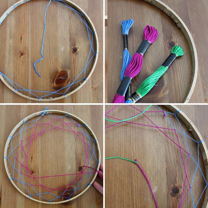 geburtstagsgeschenk ideen, traumfänger basteln, garn in drei verschiedenen farben