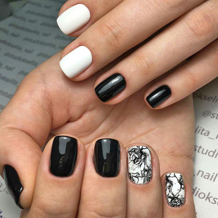 gelnägel bilder, kurze nägel lackieren, nagellack in weiß und schwarz, abstraktes motiv