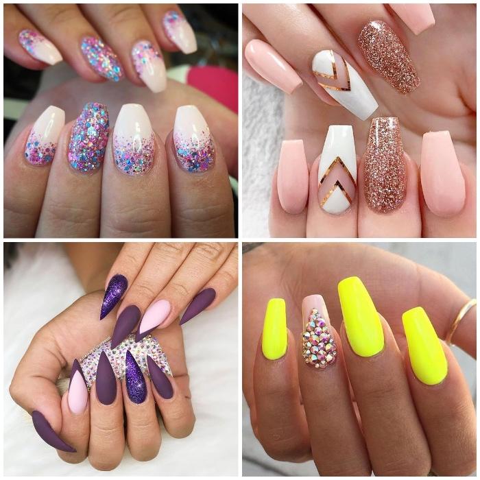 gelnägel design, collage, anleitungen, knallgelber nagellack in kombination mit steinen, lila glitzer, geometrische motive