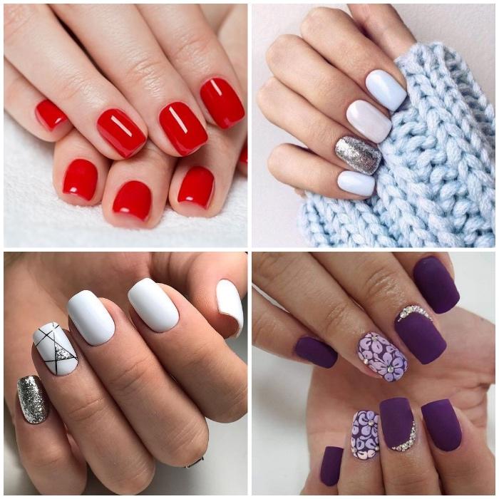 gelnägel design ideen, roter nagellack, glitzer, blumen motiv, 3d dekorationen